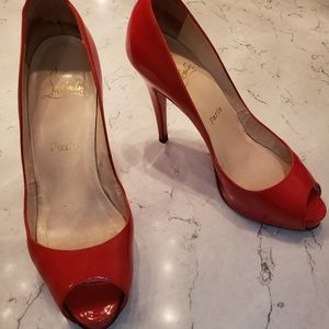 Auth Christian louboutin 38.5 Red Patent Leather